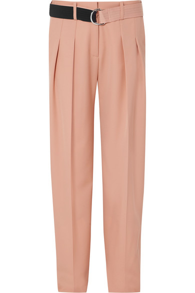668c6a2a Victoria Victoria Beckham Belted Pleated Wool-Cady Tapered Pants In Peach
