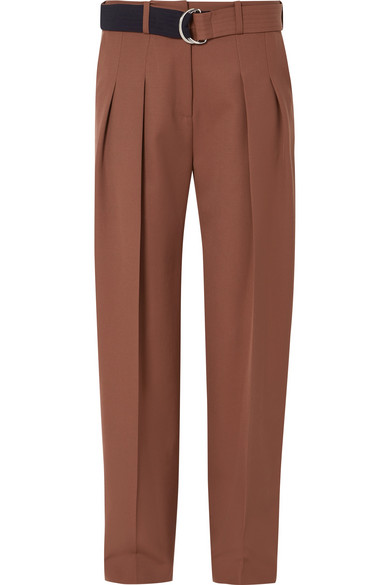 4e2fe80a Victoria Victoria Beckham Belted Pleated Wool Tapered Pants In Brown ...