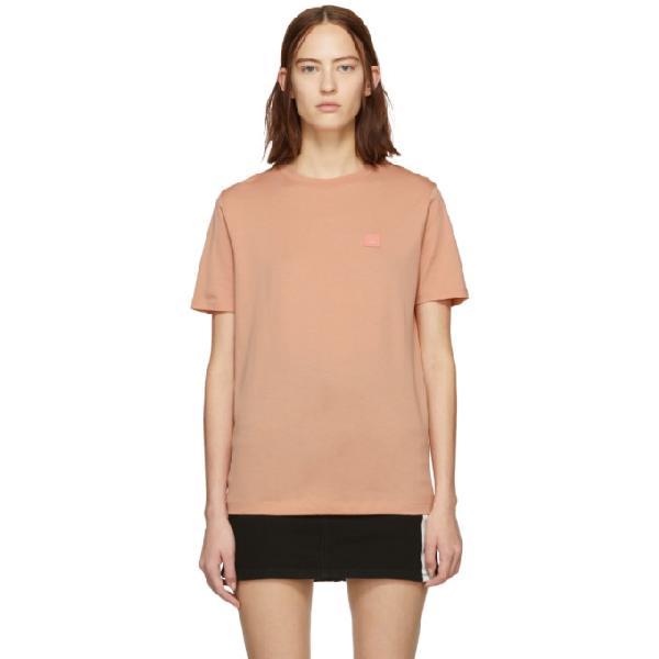 Acne Studios Pink Patch T-shirt In Pale Pink