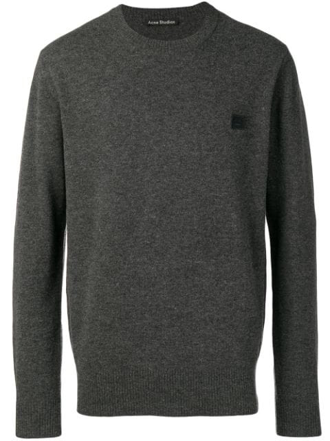 Acne Studios Logo Patch Detailed Jumper In Charcmel