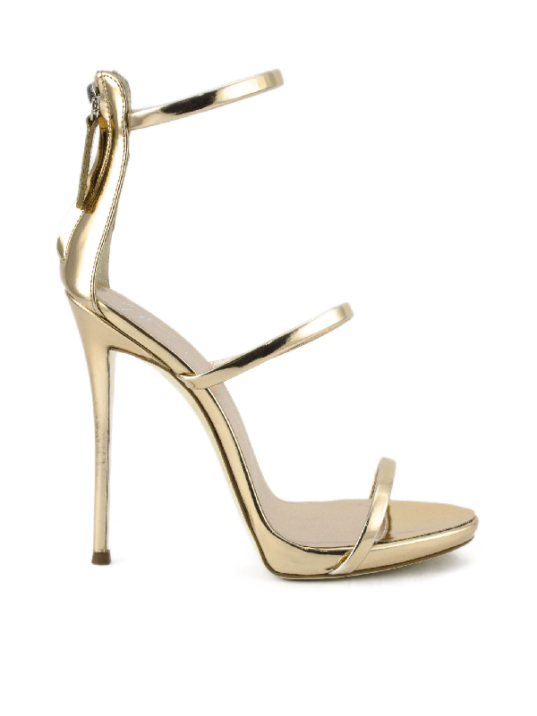 Giuseppe Zanotti Metallic Rose Gold Leather Sandal. In Ramino