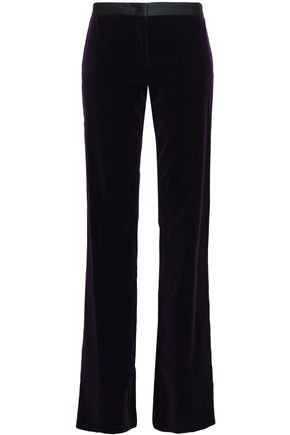 Roberto Cavalli Woman Satin-Trimmed Velvet Bootcut Pants Dark Purple