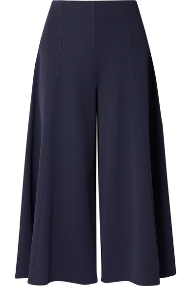 The Row Mildro Cropped Ribbed Stretch-Knit Wide-Leg Pants In Navy