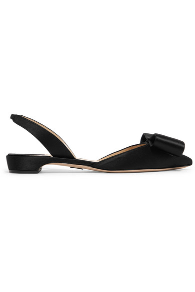Paul Andrew Rhea Bow-Embellished Satin Point-Toe Flats In Black
