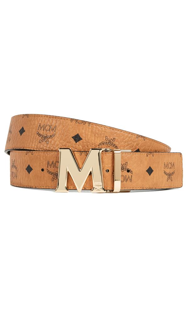 Mcm Reversible Signature Leather Belt In Cognac