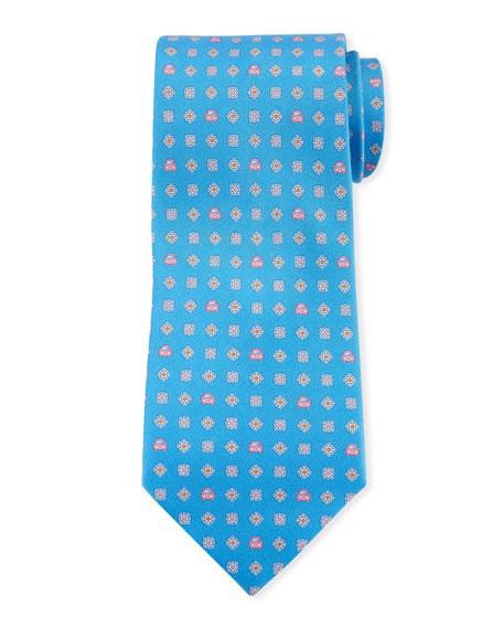 Salvatore Ferragamo Giuliet Car And Flower Silk Tie In Blue