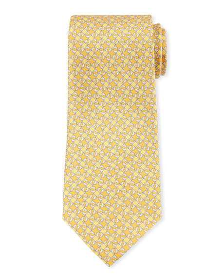 Salvatore Ferragamo Geo Dolphins Silk Tie. Yellow