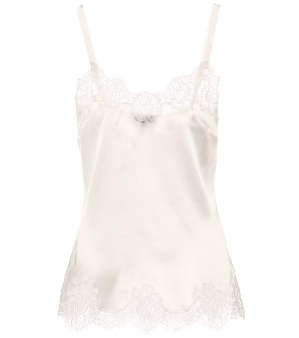 Dolce & Gabbana Lace-trimmed Satin Camisole In White