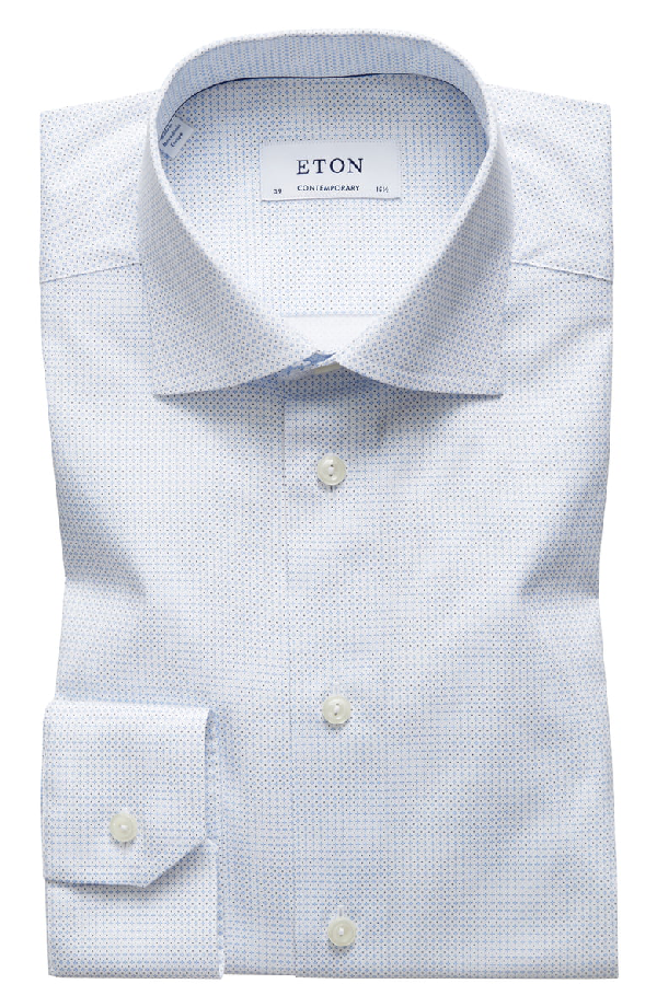 b6970760c0f Eton Contemporary-Fit Micro Print Dress Shirt In Blue | ModeSens