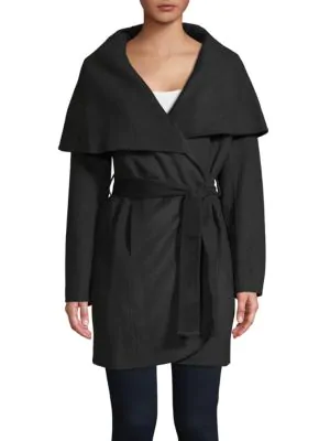 T Tahari Marla Handmade Coat In Black