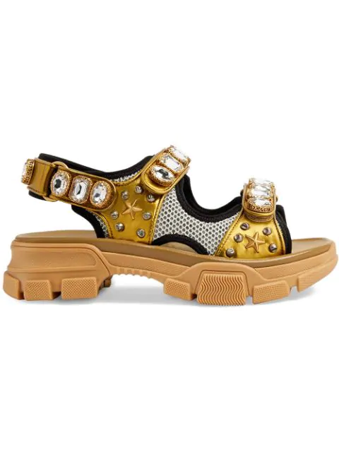 Gucci Metallic Leather Sandal With Crystals In Gold