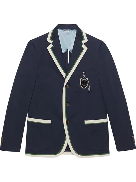Gucci Cotton Wool Jacket With Anchor Crest In Blue