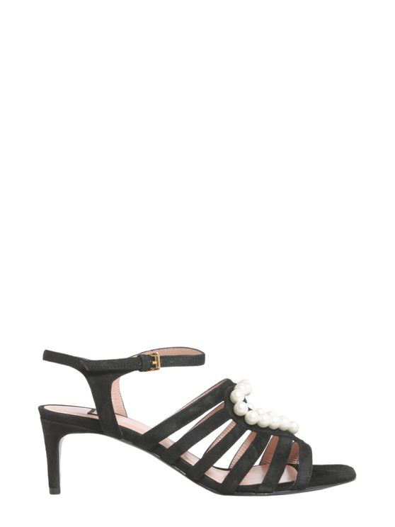 Boutique Moschino Suede Sandals In Black