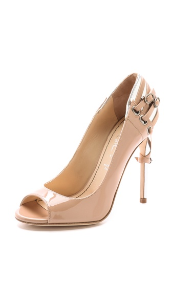 Jerome C. Rousseau Lover Patent Pump With Heel Detail In Nude/Silver