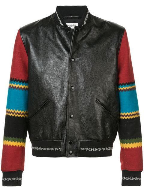 1a18f9627 Saint Laurent Varsity Jacket In Black Leather With Multicolored Sleeves