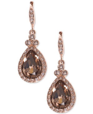 Givenchy Pave & Colored Stone Drop Earrings In Rose Gold