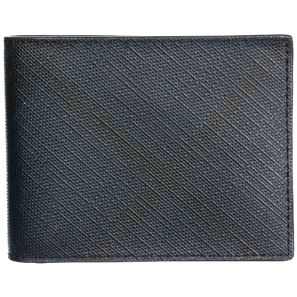 Burberry Men's Genuine Leather Wallet Credit Card Bifold  Hipfold In Blue