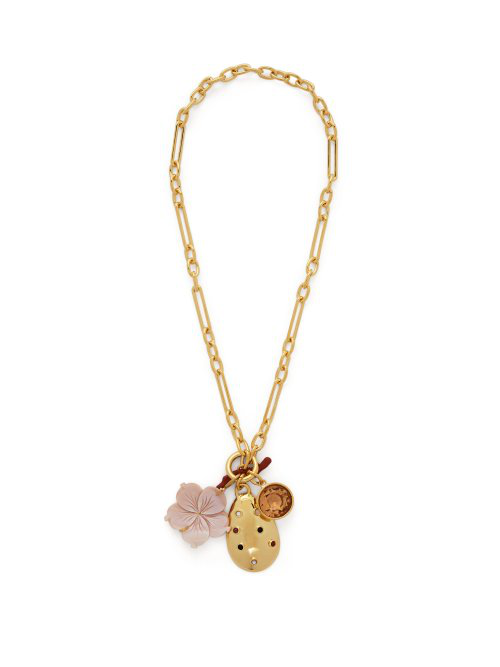 Lizzie Fortunato Windsor Charm Necklace In Gold