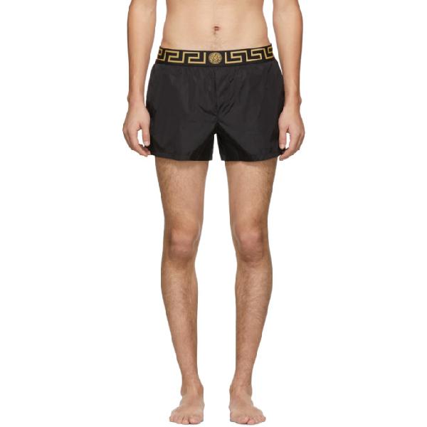 07b2ab4d1df22 Versace Black Greek Key Medusa Swim Shorts In A80G Black | ModeSens