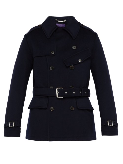 Ralph Lauren Double-Breasted Melton Wool Trench Coat In Navy