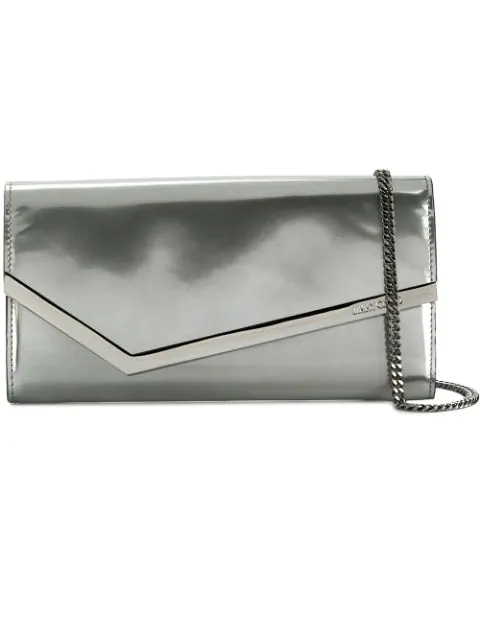beautiful and charming official images best sell Emmie Silver Liquid Mirror Leather Clutch Bag
