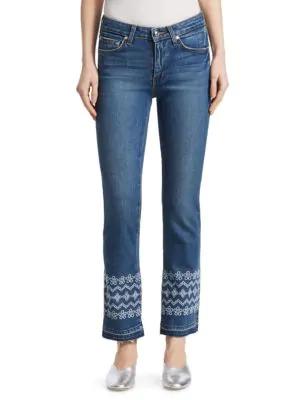 Derek Lam Jane Embroidered Ankle Jeans In Medium Wash