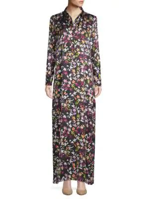 Equipment Floral-Print Silk Maxi Dress In Eclipse
