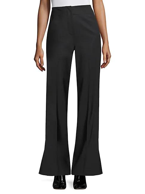 Rebecca Taylor Tuxedo Wool-blend Flare Pants In Black