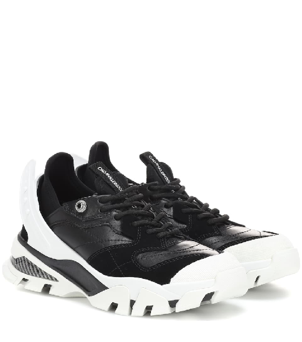 Calvin Klein 205w39nyc Carla Leather Sneakers In Black/black