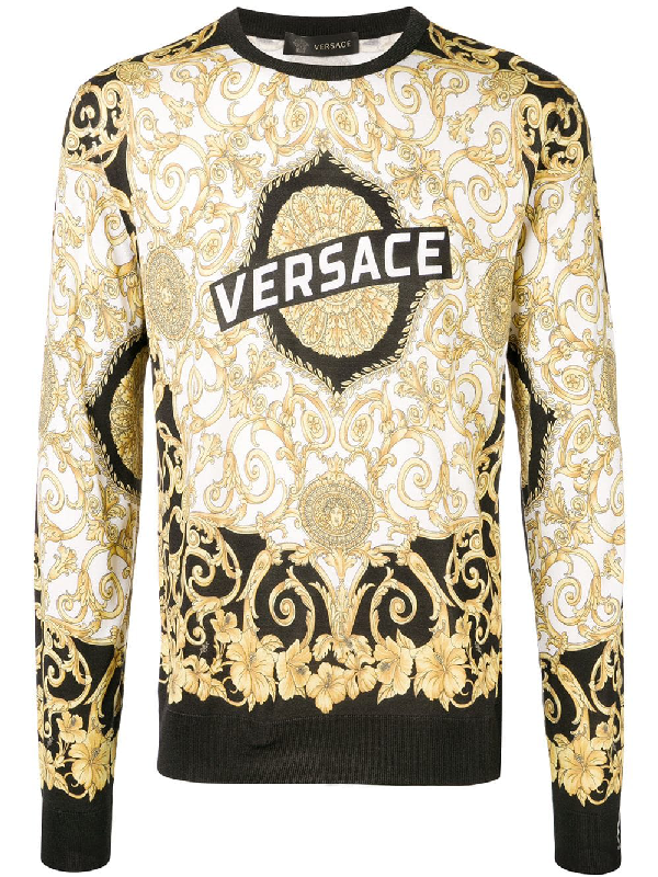 3fa9762a Versace Gold Hibiscus Print Silk Sweatshirt In Yellow | ModeSens
