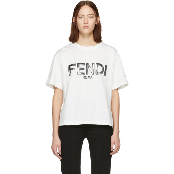 e773417f99f Fendi Off-White Metallic Logo T-Shirt In F0C00 White