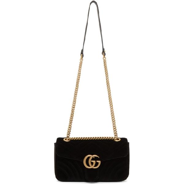 dd66d3dec89 Gucci Black Velvet Small Gg Marmont 2.0 Bag In 1000 Black