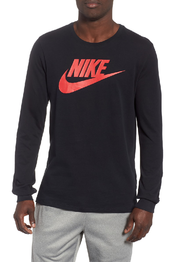 Nike Nsw Futura Icon Long Sleeve T-Shirt In Black/ University Red
