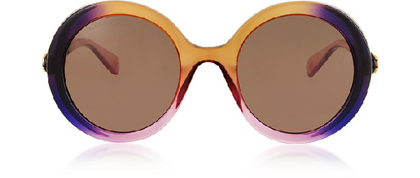 Gucci 53Mm Round Sunglasses - Sage Gradient/ Lila Gradient In Purple / Shaded Brown