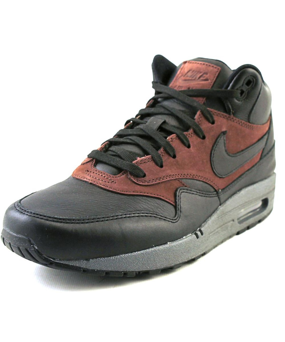 Nike Air Max 1 Mid Deluxe Qs Men Round Toe Synthetic Black Sneakers'