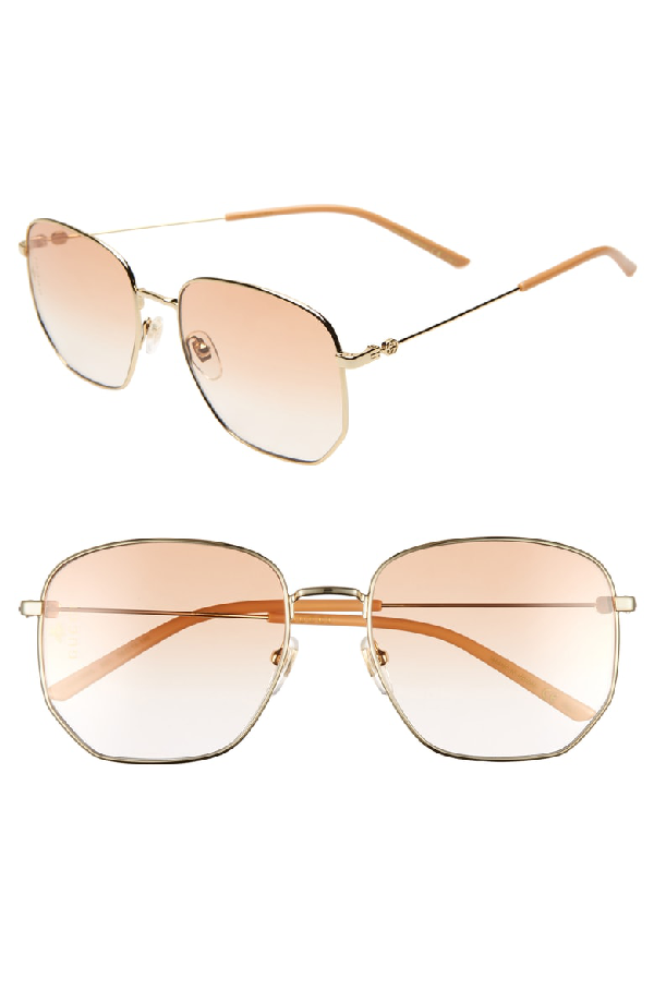 bad26d54701 Gucci 56Mm Aviator Sunglasses - Gold  Orange Gradient