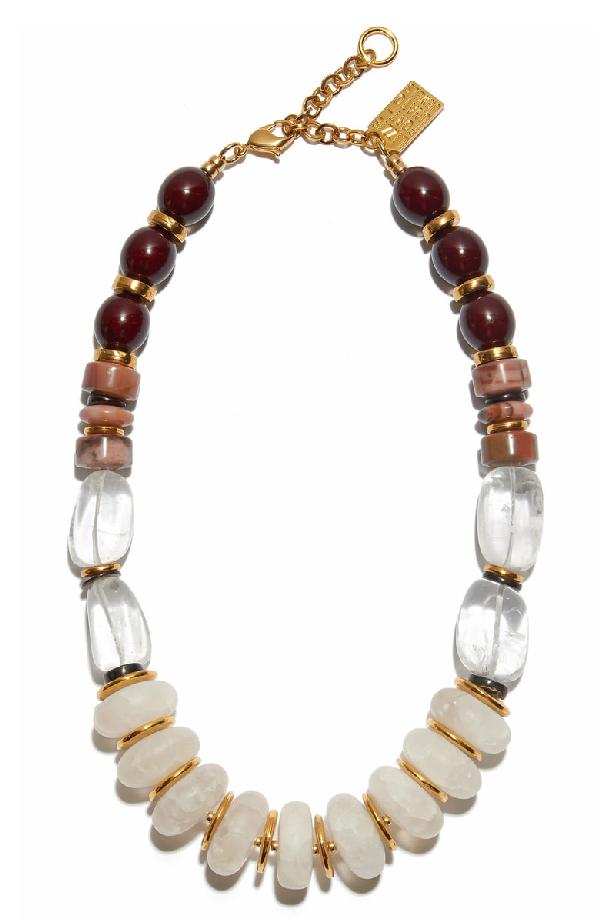 Lizzie Fortunato Tuscan Quartz Necklace In Beige Multi