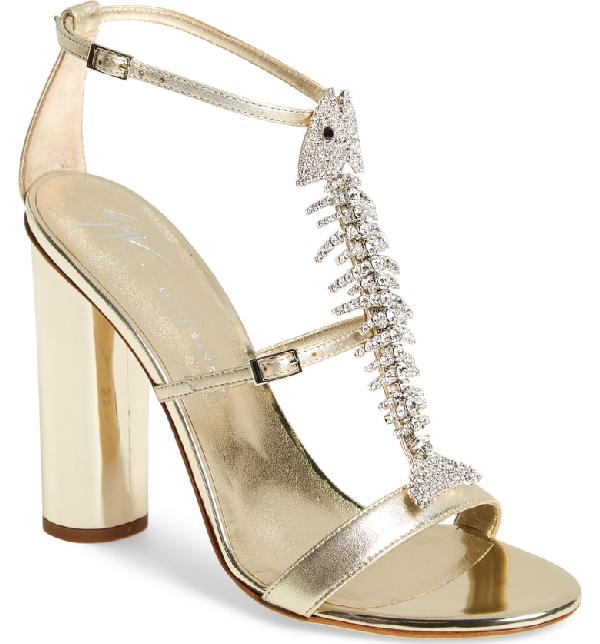 Giuseppe Zanotti Embellished Fish Skeleton Sandal In Gold