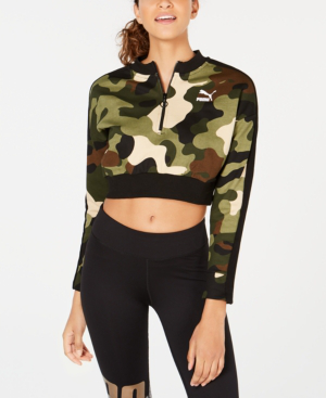 46ba73781ec0f2 Puma Women's Wild Pack T7 Cropped Crew Sweatshirt, Green In Forest Night  Camo