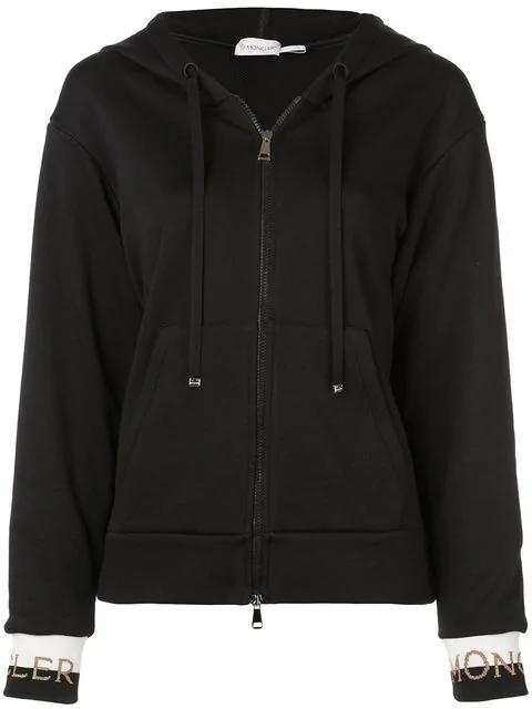 a849348e2 Zip-Up Cotton Blend Sweatshirt Hoodie in Black