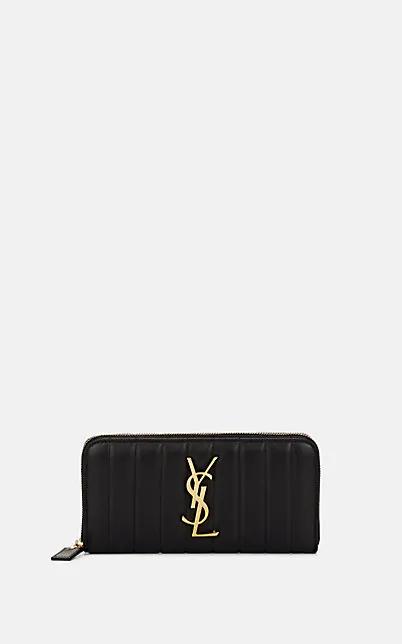 Saint Laurent Monogram MatelassÉ Leather Zip-Around Wallet In Black