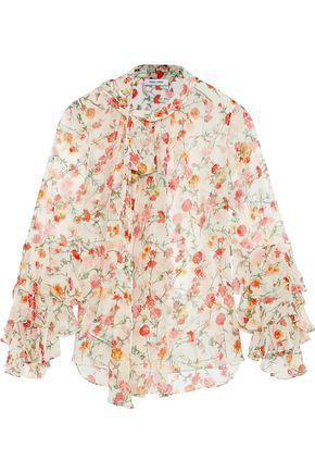 1bdc5cd5609233 Prabal Gurung Woman Ruffle-Trimmed Floral-Print Silk-Chiffon Blouse White