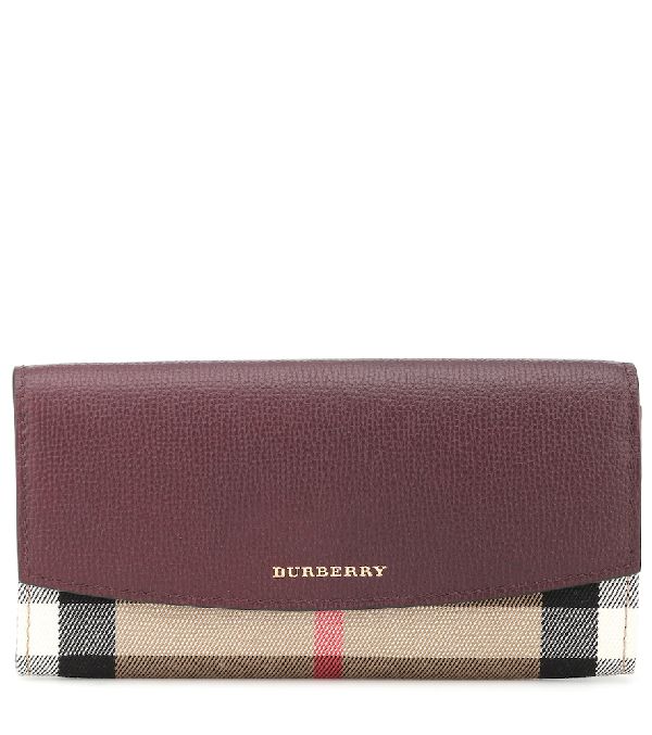 Burberry House Check And Leather Wallet In Red
