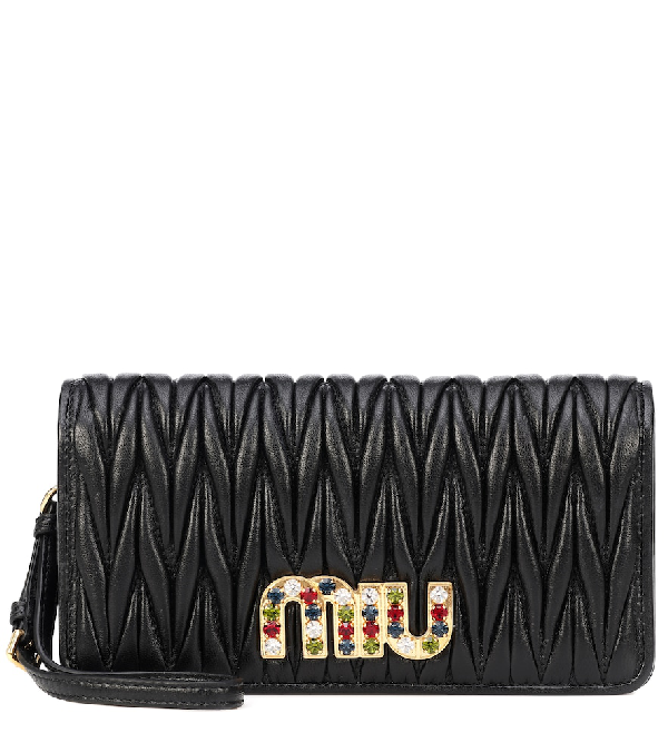c16070305473 Miu Miu MatelassÉ Leather Clutch In Black