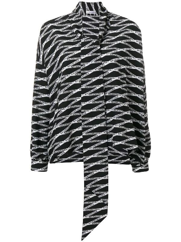 fb04c52f7fcc98 Balenciaga Women's Grey Zigzag Logo-Print Silk Shirt In Black   ModeSens