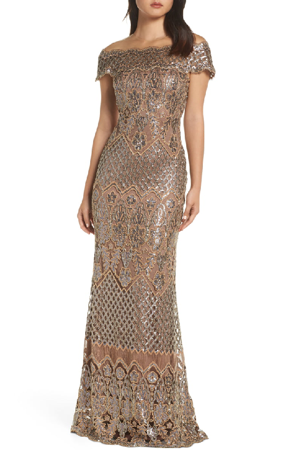 9a05587fbee54d Tadashi Shoji Sequin Lace Off-The-Shoulder Illusion Short-Sleeve Gown In  Copper