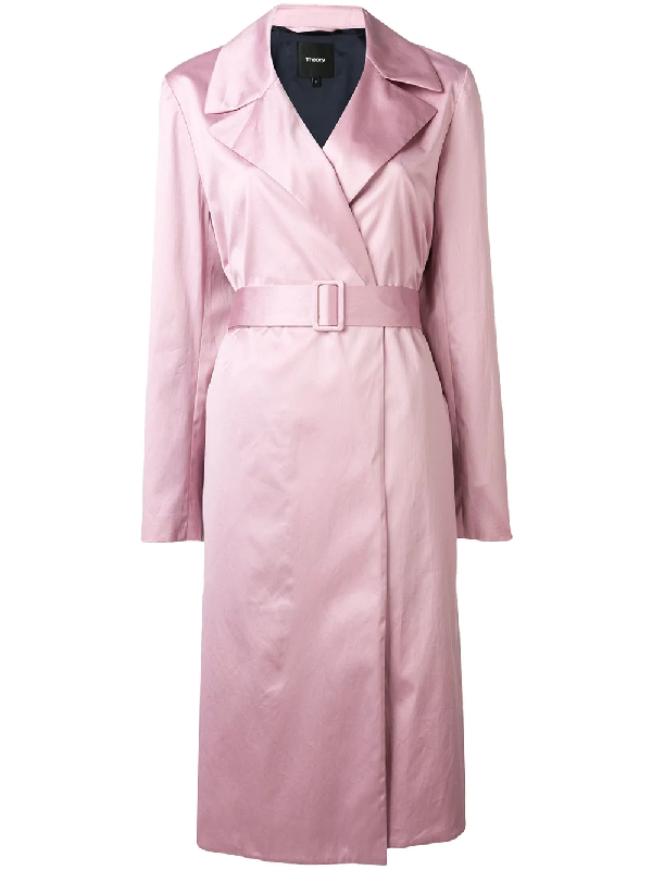 56a2d0604f Theory Chintz Cotton Belted Trench Coat In Xma Pink Lilac | ModeSens