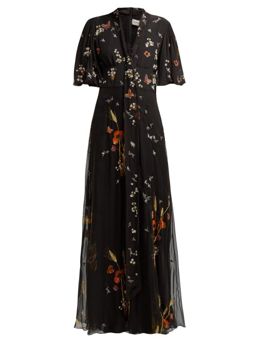 Valentino Floral Sequin-Embellished Silk-Chiffon Gown In Black Multi