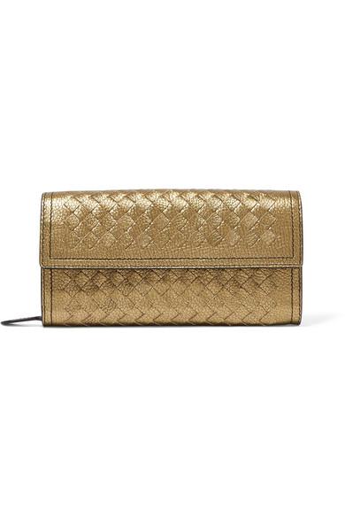 Bottega Veneta Metallic Intrecciato Leather Continental Wallet In Gold