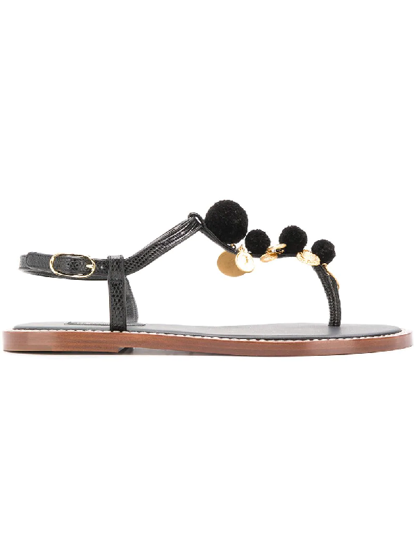 6aa0e2d99 Dolce & Gabbana Pompom And Charm-Embellished Lizard-Effect Leather Sandals  In Black